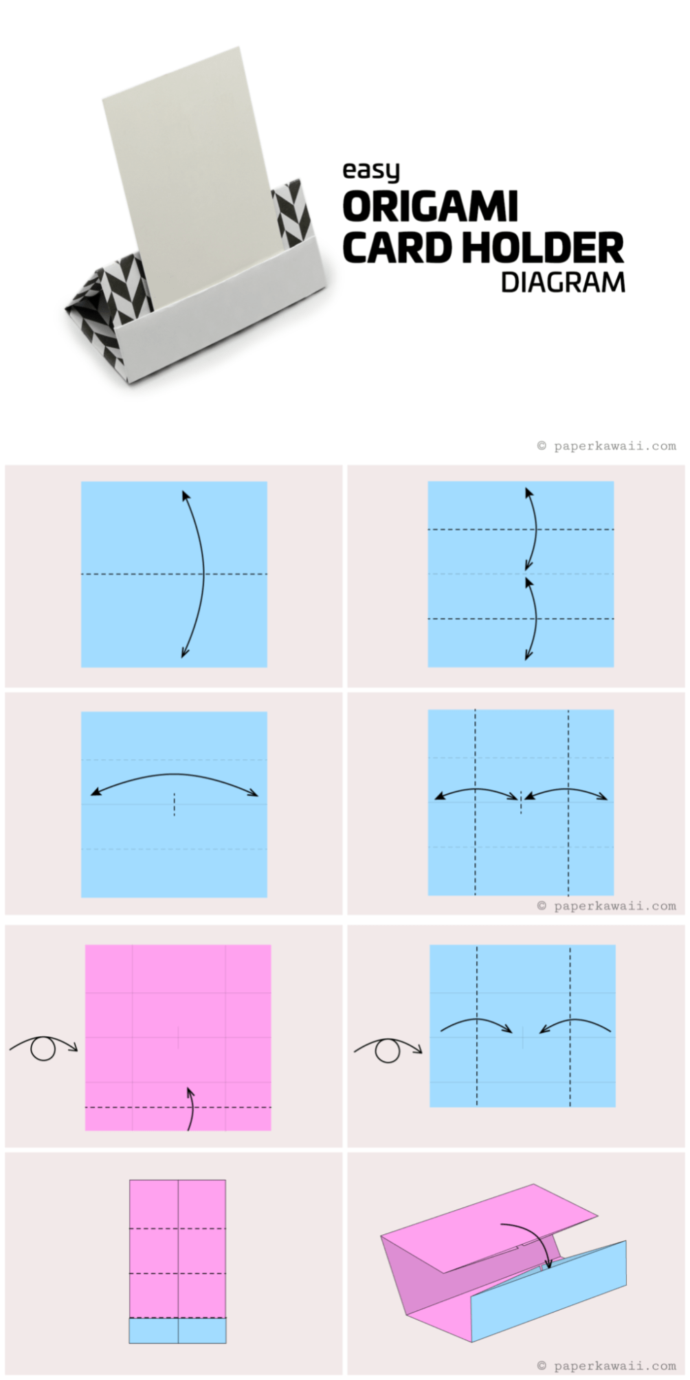 Origami Card Holder Diagram Paper Kawaii Origami Diagram Diy