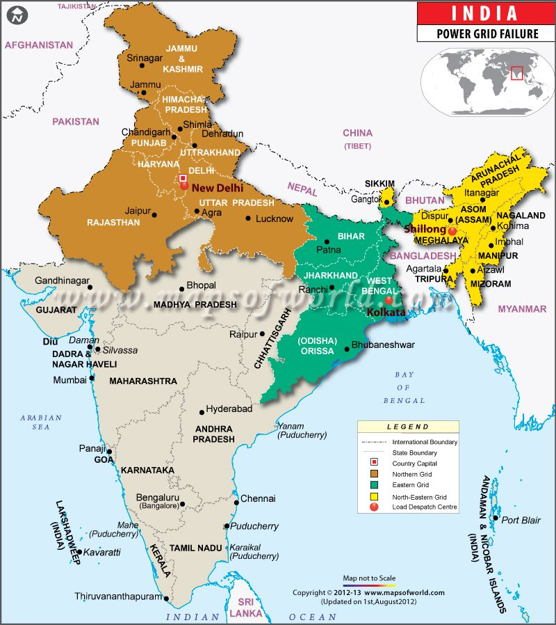 Affected area because grid failure in india India map