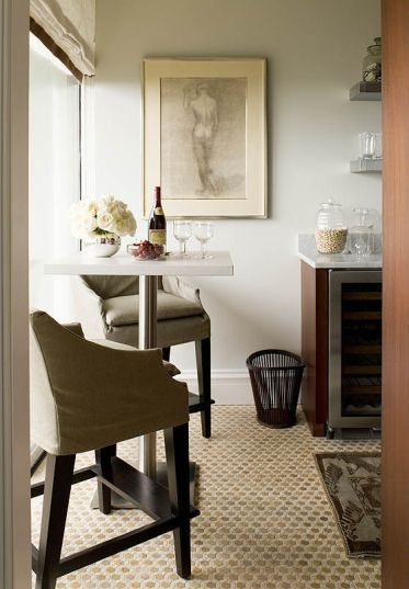 Amazing Phoebe Howard: Amazing City Galley Kitchen With Modern Pub Table Paired  With Gray Slipcover Swoop Good Ideas