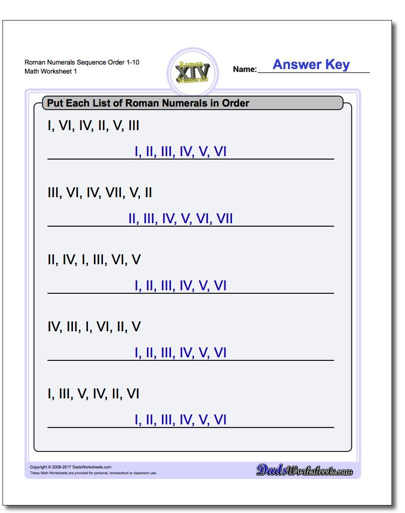 hight resolution of If your students need practice with Roman numerals