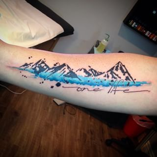 Image result for watercolor mountain tattoo | Tattoo ...
