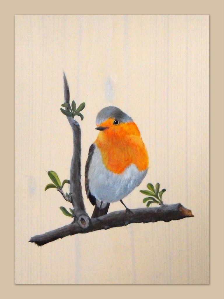 rouge gorge dessin illustration animaux pinterest peinture acrylique sur bois peinture. Black Bedroom Furniture Sets. Home Design Ideas