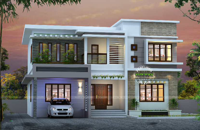 Attractive bedroom flat roof house simple bungalow designs modern plans also building elevation in rh pinterest
