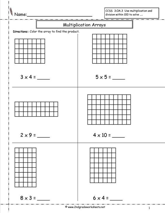 Multiplication Arrays Worksheets 2nd Nbt Common Core