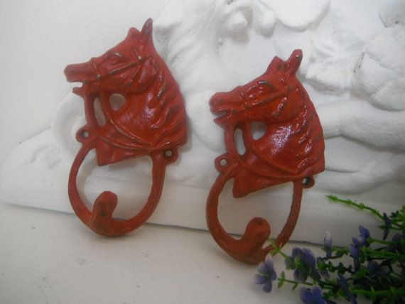 red horse hooks rustic chic cast iron horse lovers by ShabbyRoad, $16.50