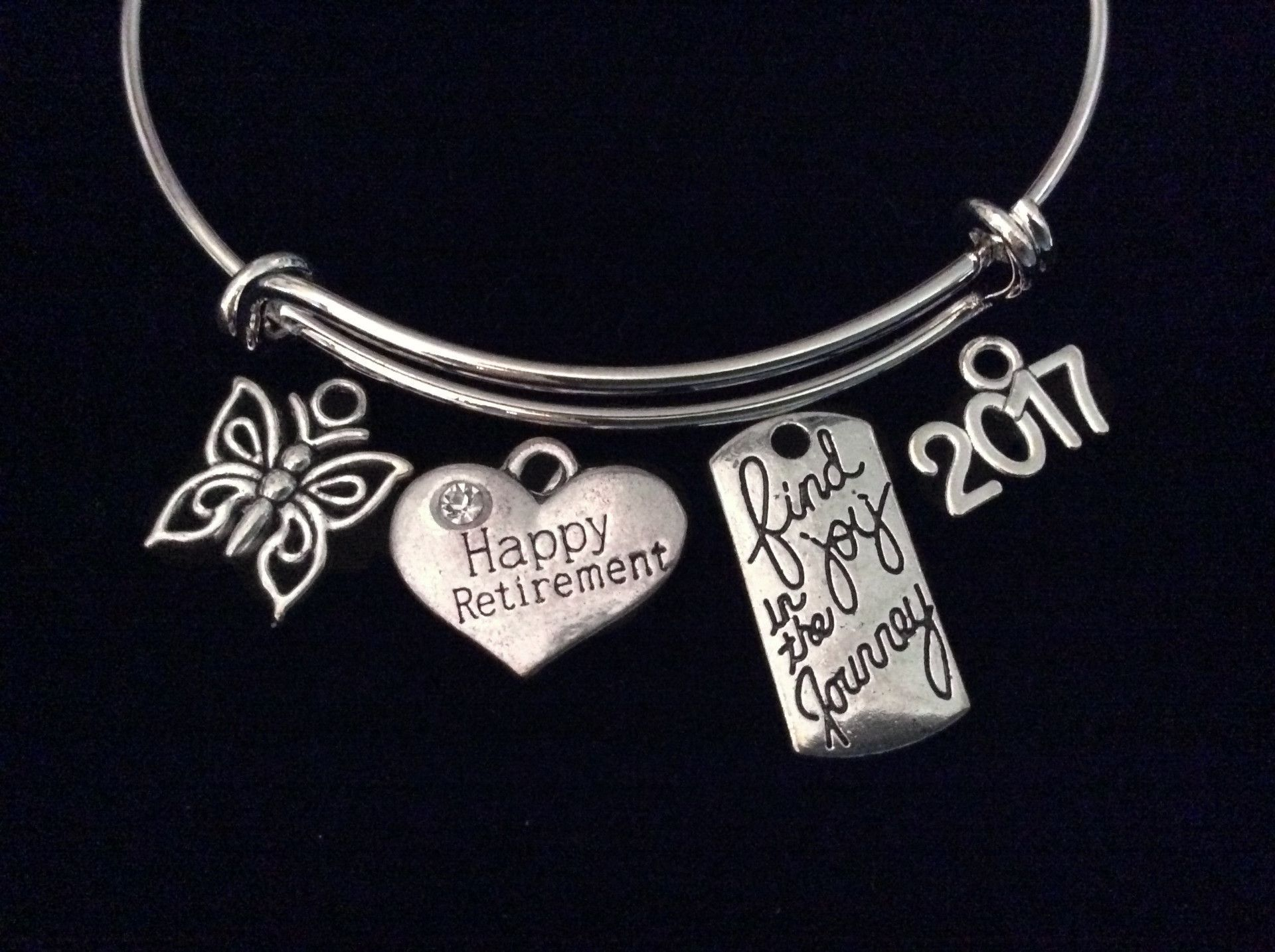 Happy Retirement 2017 Find Joy in the Journey Expandable Silver Charm Bracelet Adjustable Bangle Office Worker Gift Retire