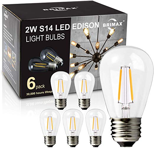Brimax 6pack 2w Led Light Bulbs Dimmable Led Filament Bulb