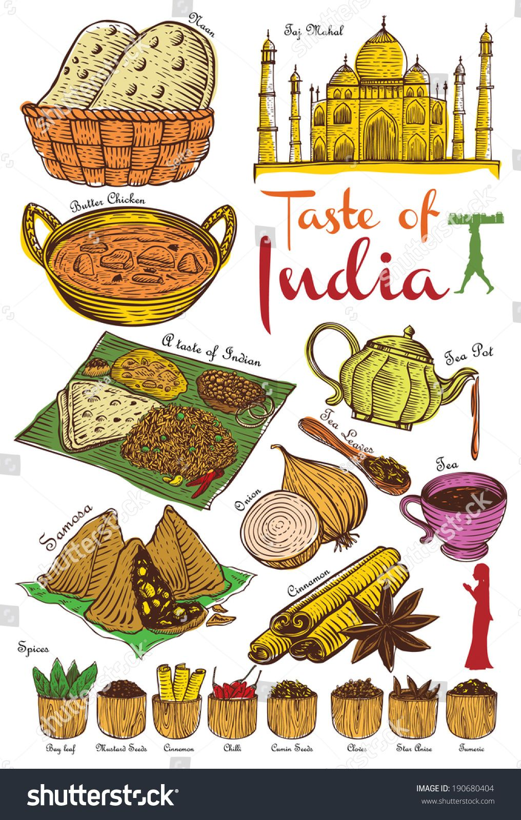 Set of Indian food and ingredients, vector Indian food