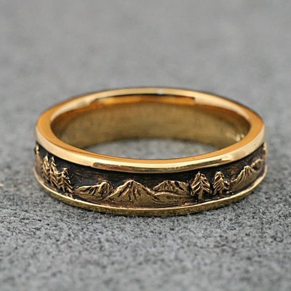 Mountain Landscape Wedding Band 5 5mm Wide In 14k Yellow Or White Gold