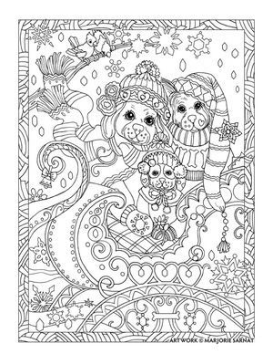 Creative Haven Dazzling Dogs Coloring Book By Marjorie Sarnat Snow Sleigh Davlin Publishing