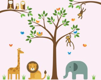 Wall Decals Jungle Nursery Wall Decals Jungle By MaxwillStudio - Nursery wall decals jungle