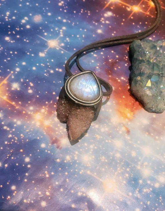 Twin Flame. Spirit Quartz Necklace Moon Stone Necklace a. Twin Peaks Crystal. Cactus Fairy Quartz Crystal Cluster