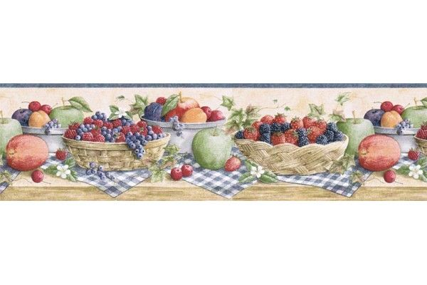 6 7 8 In X 15 Ft Prepasted Wallpaper Borders Fruits Wall Paper Border Cj80023b Wallpaper Border Kitchen Wallpaper Border Fruit Wallpaper