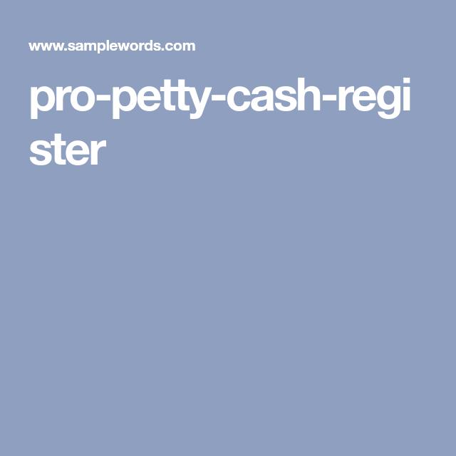 pro-petty-cash-register | Petty cash | Pinterest