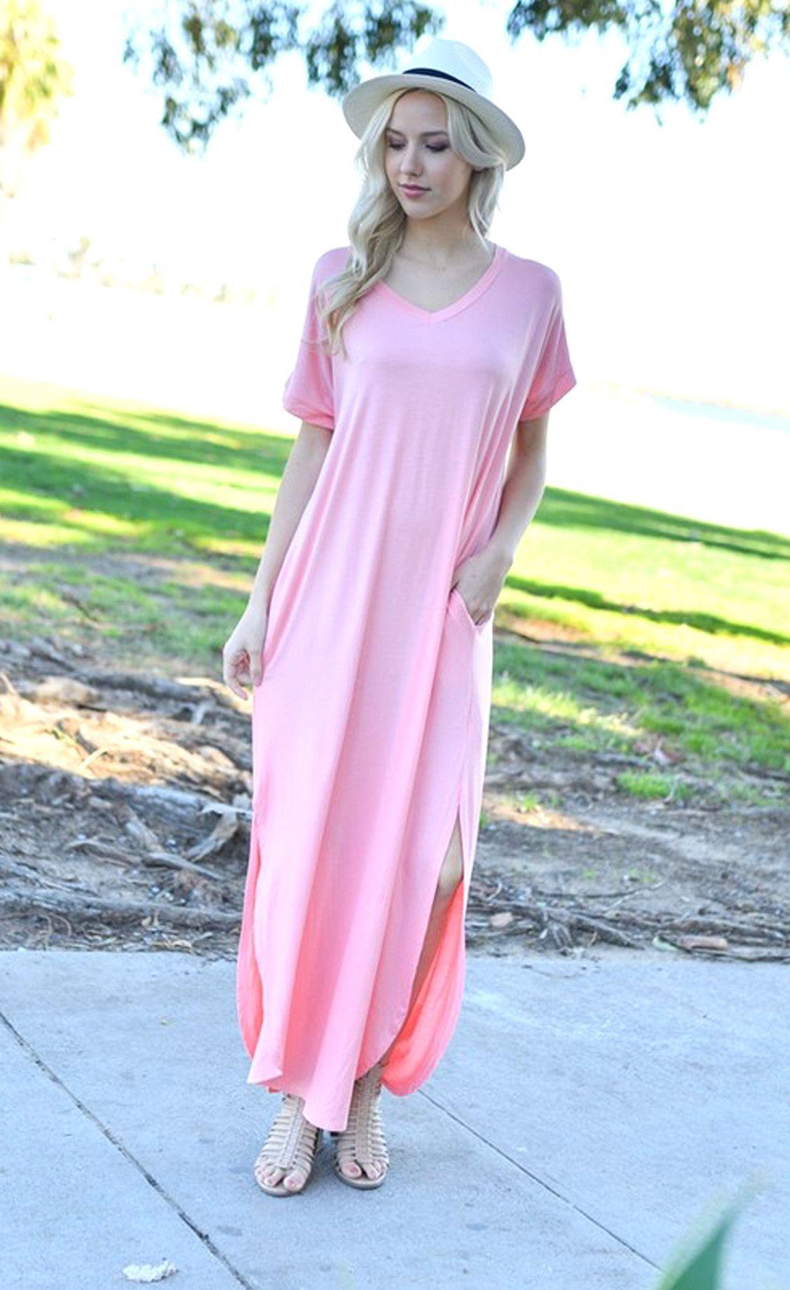 Abigail Blush T Shirt Maxi Dress Maxi Knit Dress Maxi Shirt Dress Maxi Dress With Sleeves [ 1843 x 1129 Pixel ]