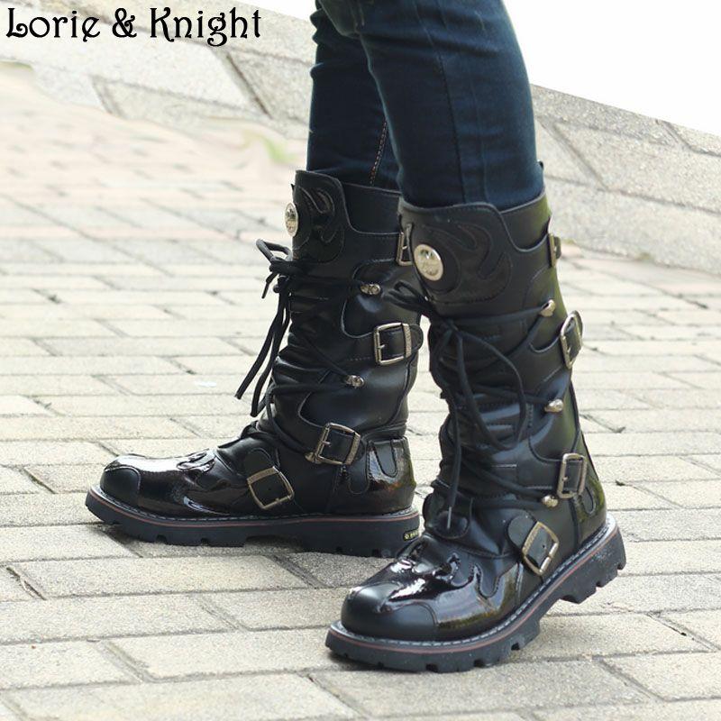 Men Black Leather Buckle Strap Punk Winter Outside Boots Combat Uniform Boots Steampunk Shoes