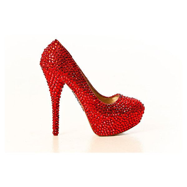 28b4b4ae9e4d Crystal Ruby Red Slippers High Heels by yhasminae ❤ liked on Polyvore