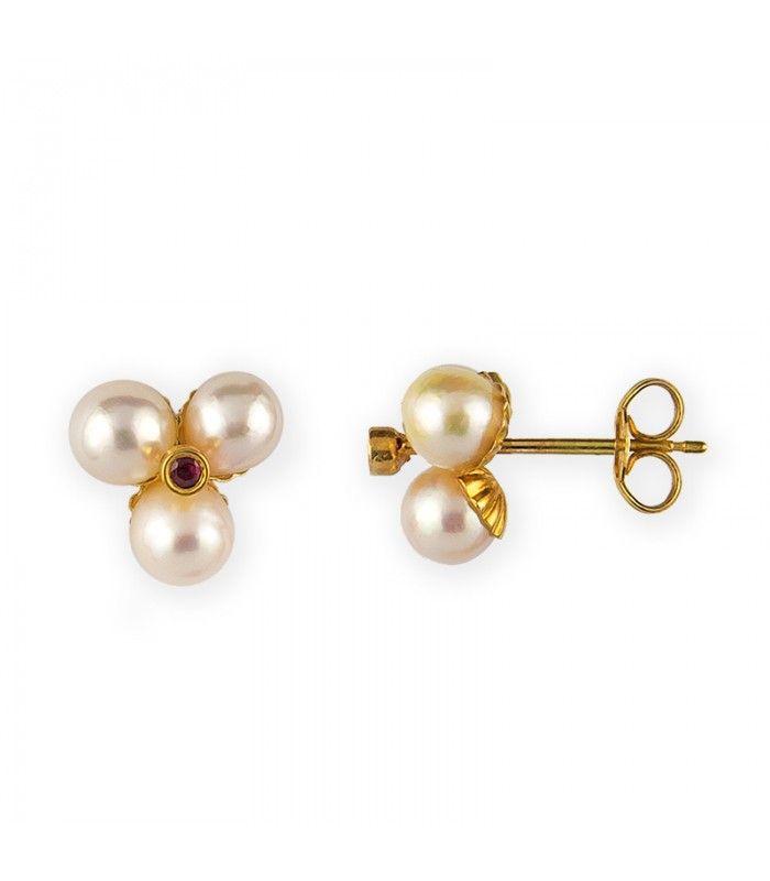 Pendientes de Mujer en Oro 18 kt con Perlas Cultivadas en Agua Dulce Naturales