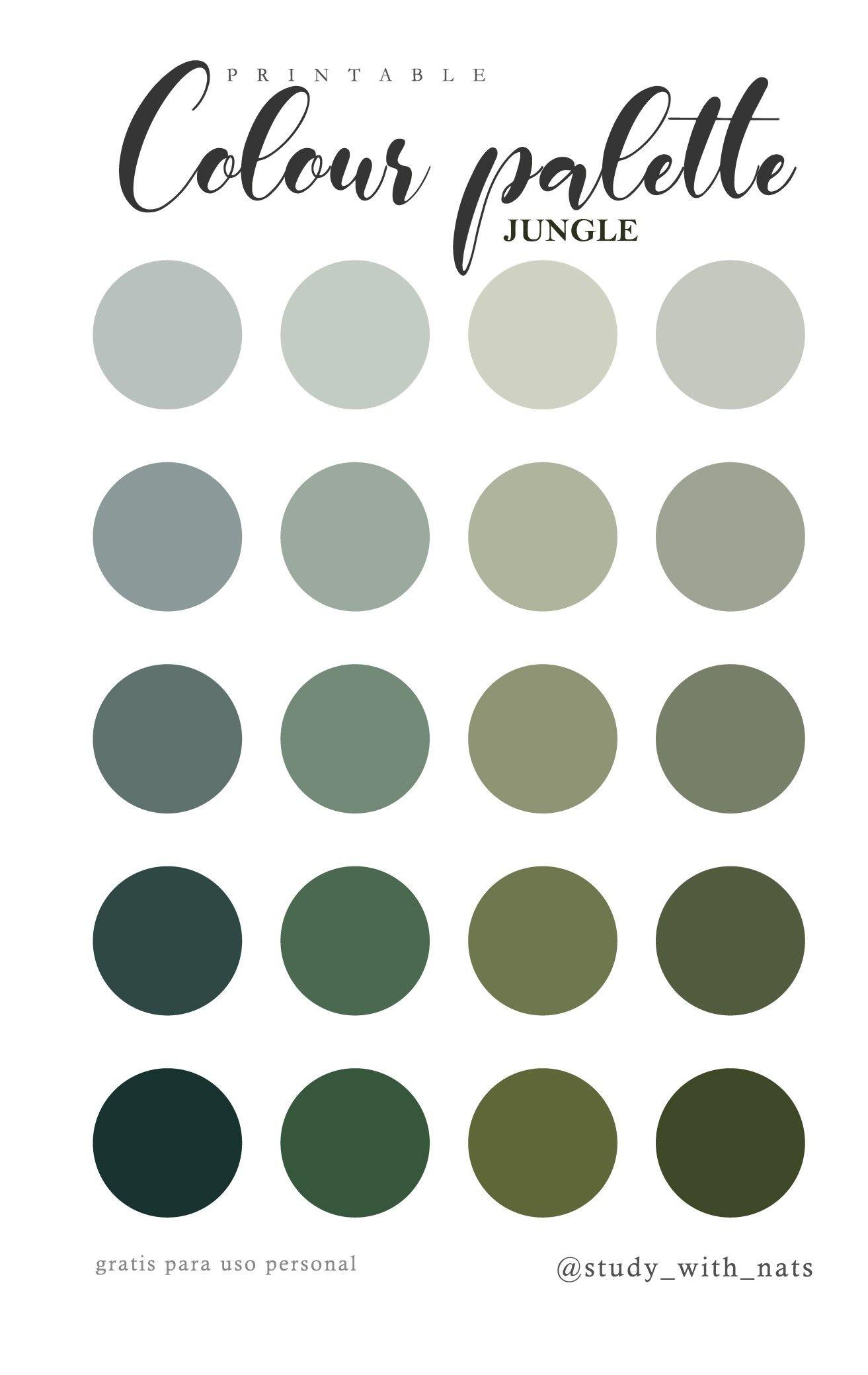 Printable colour palette jungle
