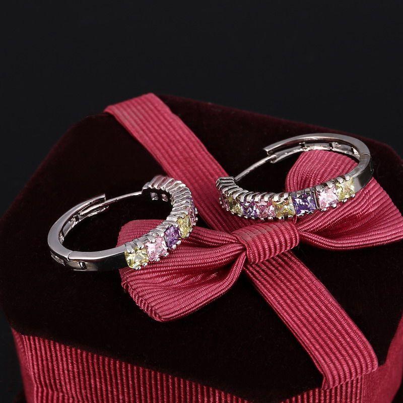 ZOSHI 2016 새로운 925 스털링 실버 여성 작은 귀걸이 패션 고급 보석 럭셔리 화려한 크리스탈 스터드 귀걸이 도매