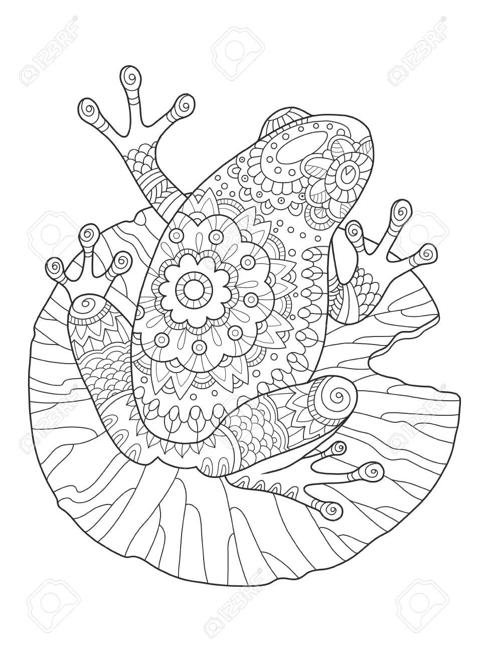 Frog Coloring Book Vector Illustration Affiliate Coloring Frog Book Illustration Frosch Malvorlagen Mandala Zum Ausdrucken Kostenlose Ausmalbilder