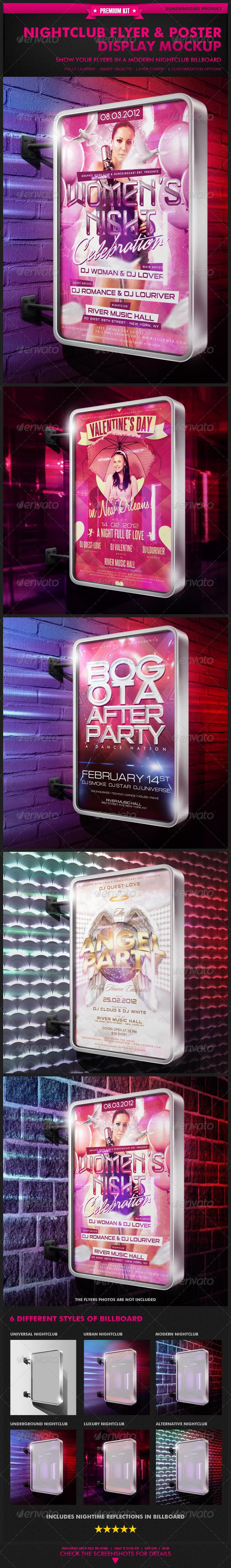 6 poster design photo mockups - Nightclub Flyer Poster Display Mockup