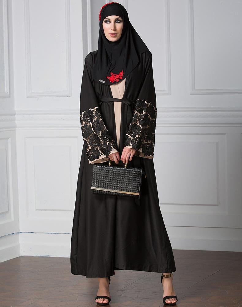 Muslim arabic islamic long sleeve lace front open abaya dress robe
