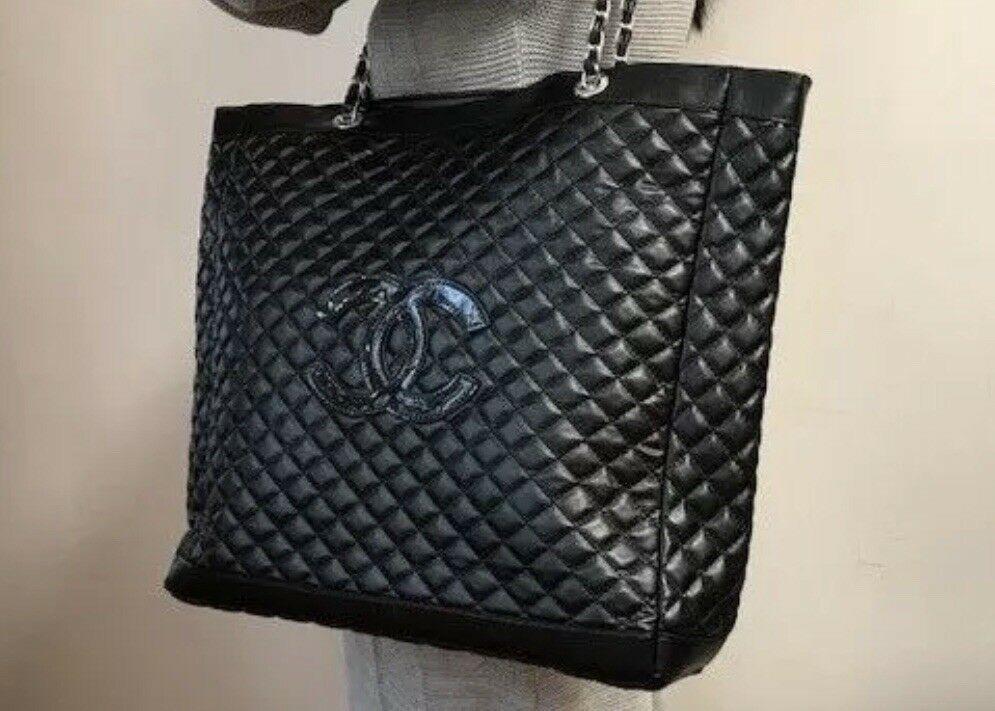 FORSALE New Chanel Black CC Logo Silver Chain Shoulder Hand VIP Gift Bag -   258 fbf98ad97f663