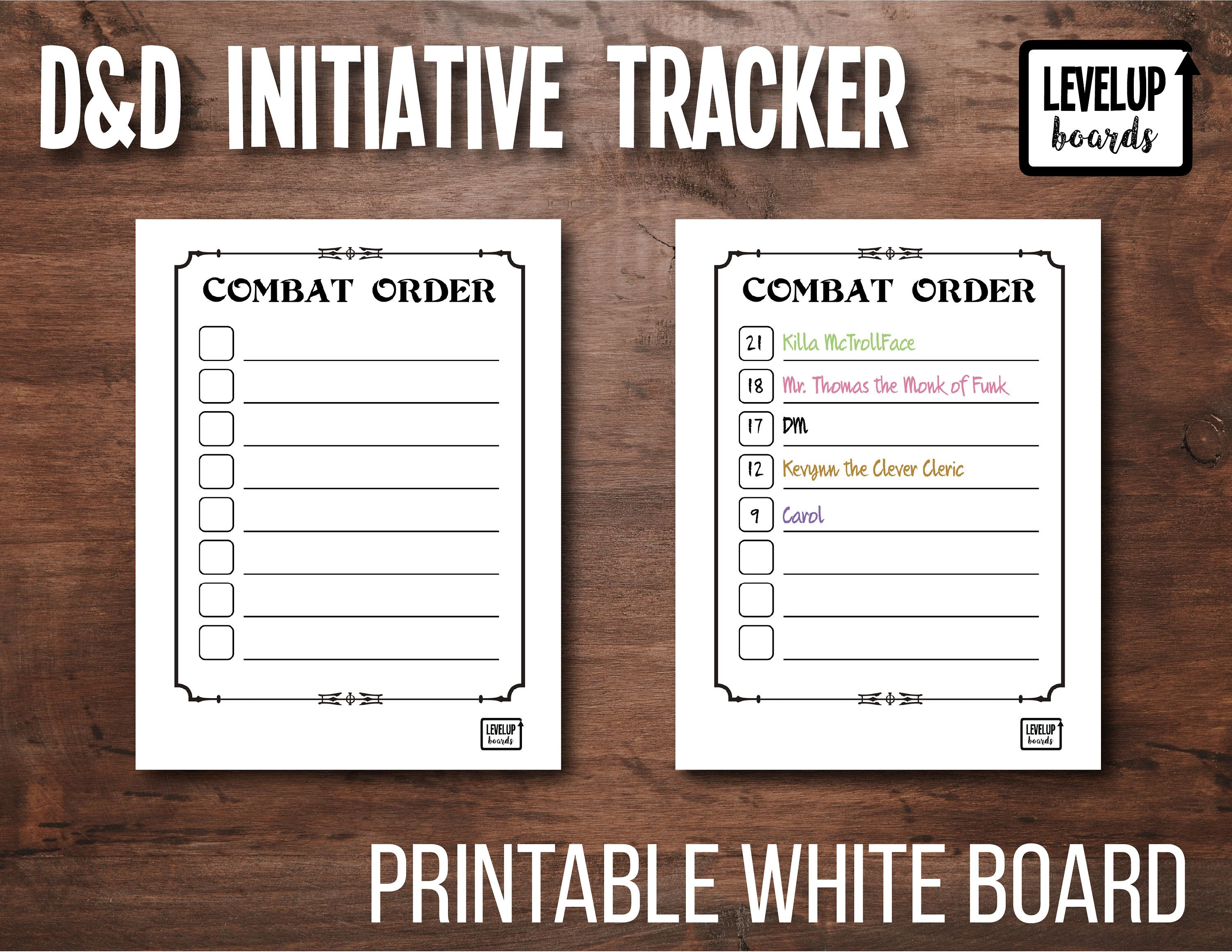 photograph relating to Printable Whiteboard referred to as DD Initiative Tracker DM Battle Purchase Printable Dry