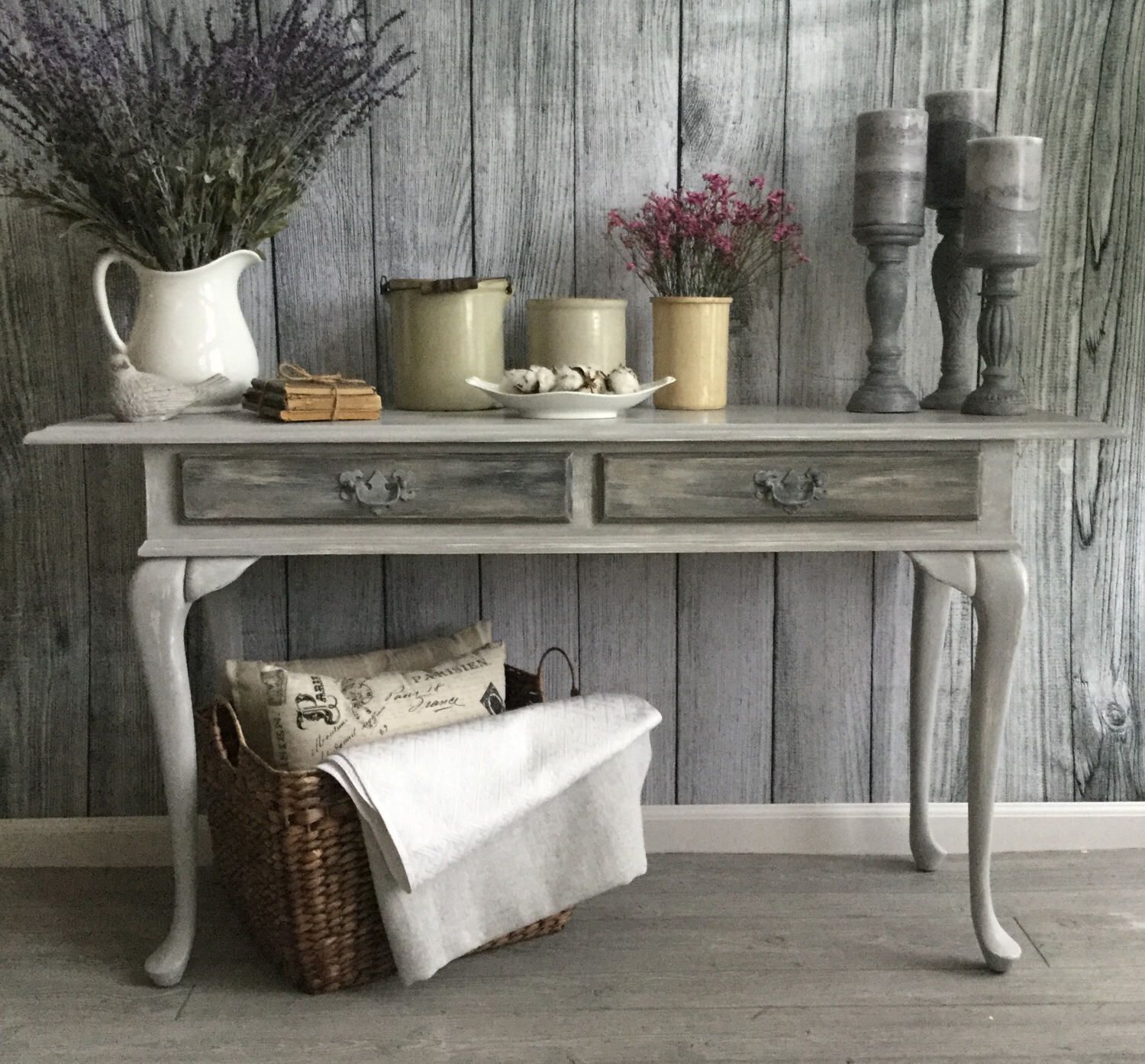 painted queen anne sofa table cindy crawford denim slipcover console with 2 drawers entryway