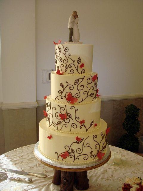 Woods Themed Wedding Cake by Sweet Pea *butterflies instead of leaves..*