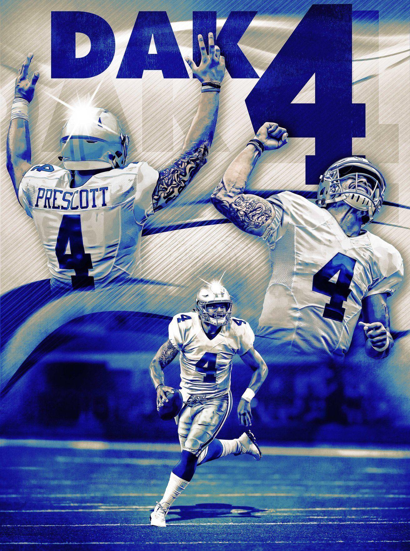 Dallas Cowboys Dak Prescott Dak 4 24x18 Football Poster  01c8a19f1