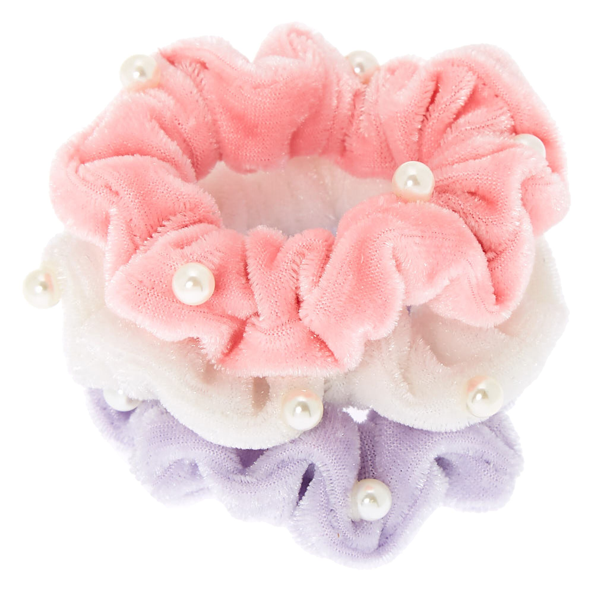 3 Braided Scrunchies Light Green,Pink /& Blue Trendy Ponytail Girl Hair Accessory