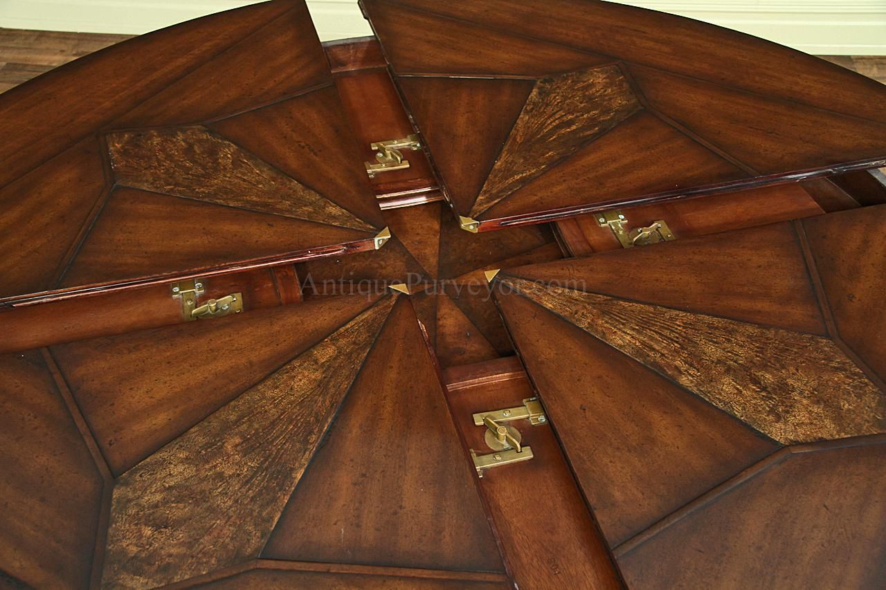 Large Round Dining Table Jupe For With Self Storing Leaves