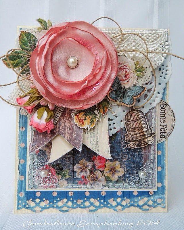 claralesfleurs scrapbooking 2014 carte pour d fi de mai fleur fait la main scrappy two. Black Bedroom Furniture Sets. Home Design Ideas