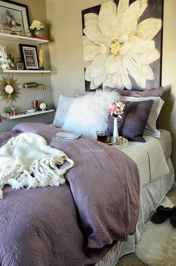 Guest Room Amethyst West Elm Bedding With Ikea Ekby Shelves At TidyMom.net  · Bedroom Ideas ...