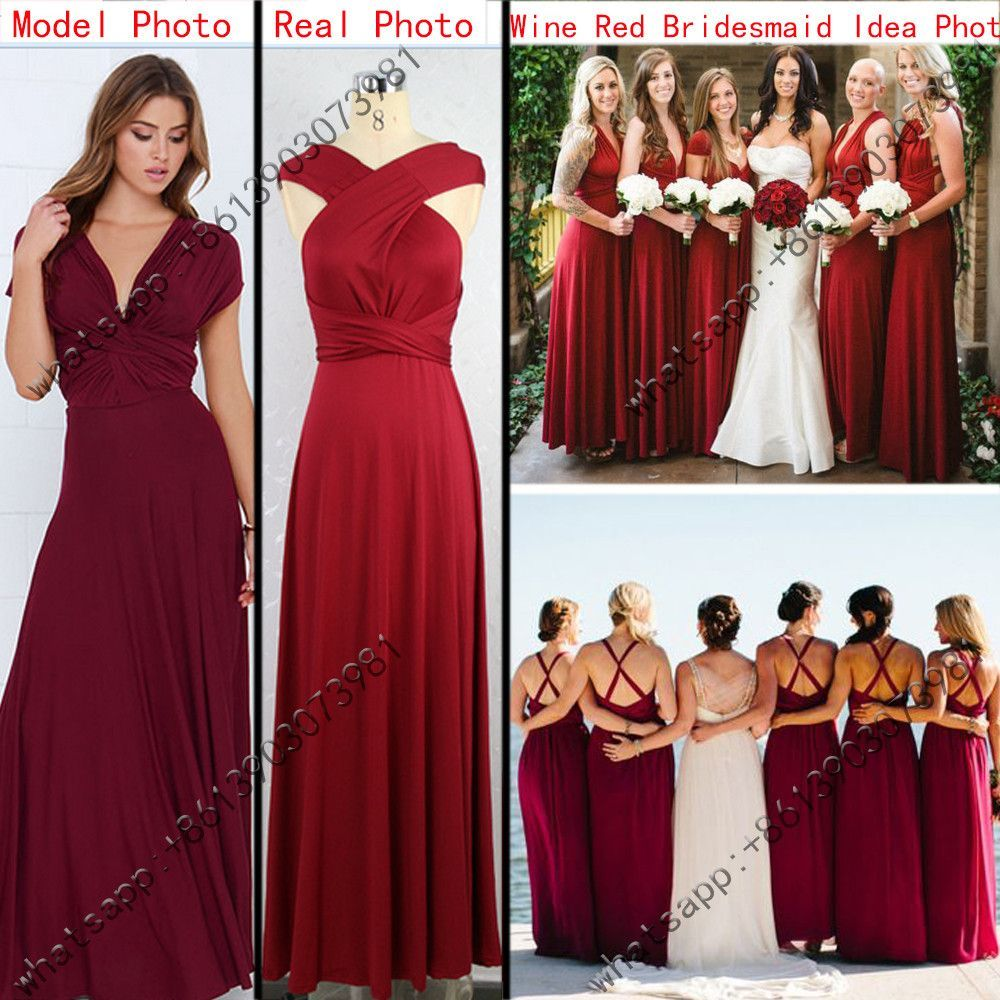 Red bandage long dress sexy multiway bridesmaids convertible dress