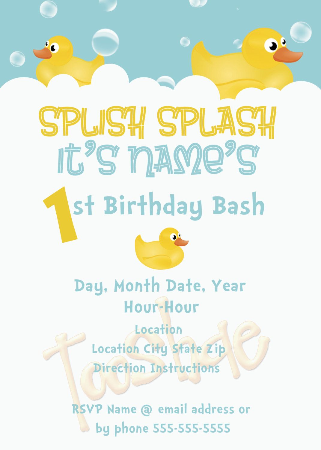 Rubber Ducky Birthday Invitation. $5.00, via Etsy. | Baby boys 1 ...