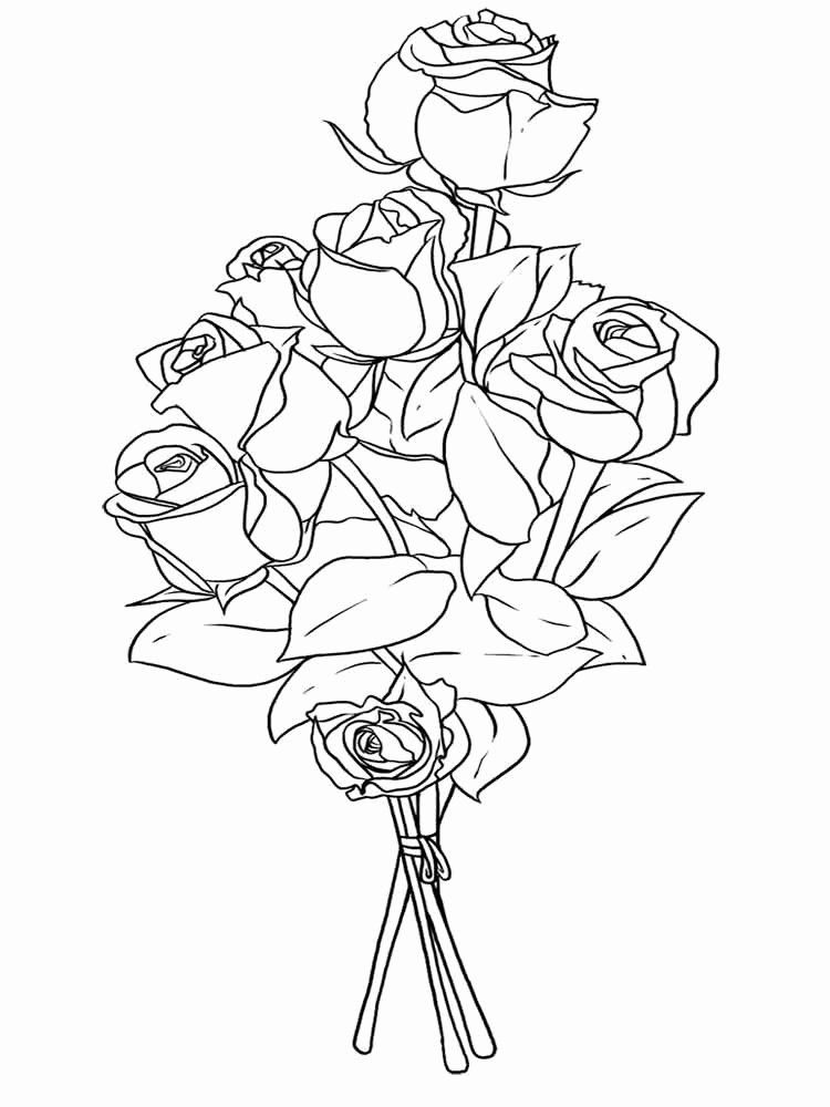 Bouquet Of Flowers Coloring Page Lovely Flower Bouquet Coloring Pages Download And Pr Rose Coloring Pages Printable Flower Coloring Pages Flower Coloring Pages