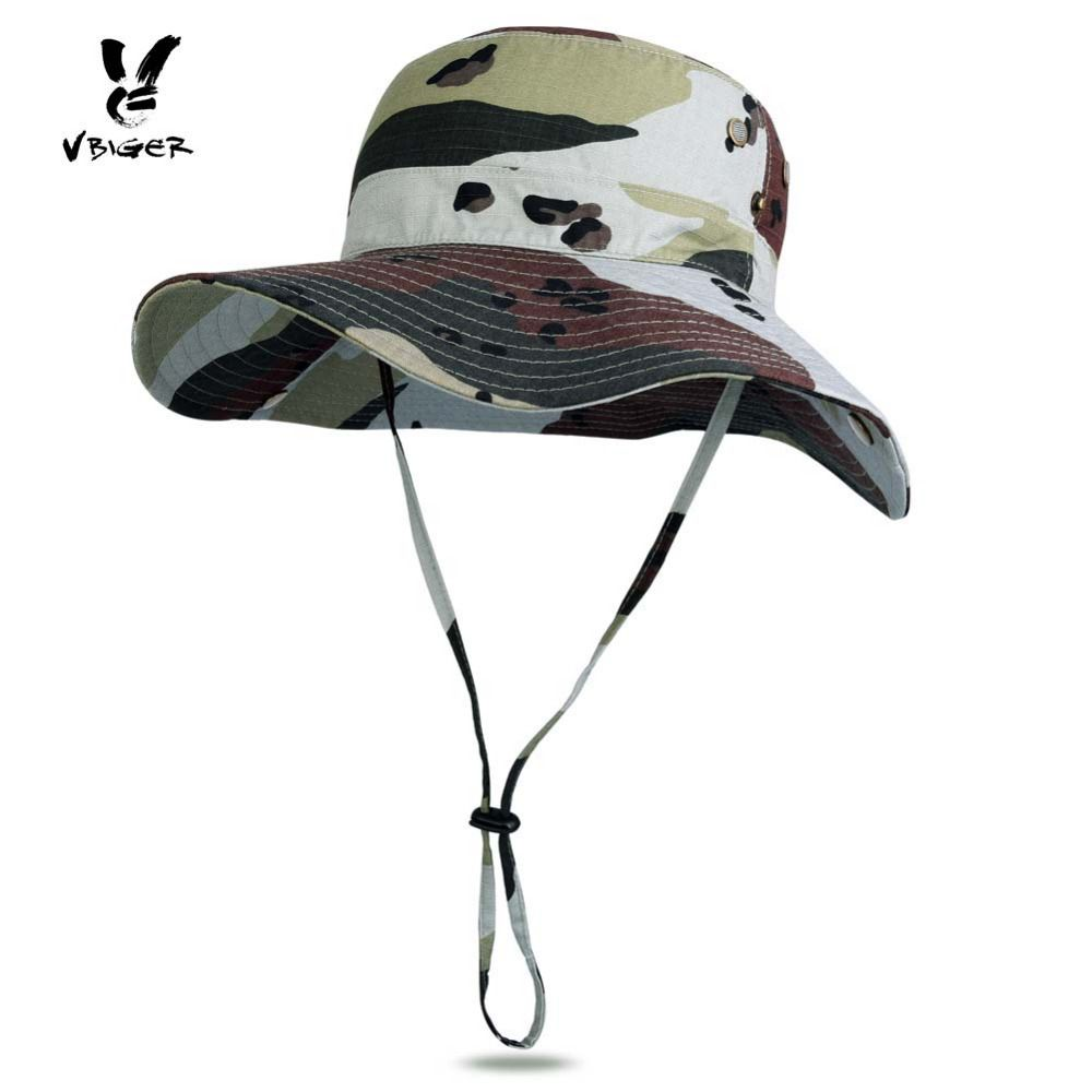 da539535278a16 VBIGER Unisex Summer Bucket Hat Adjustable Large Wide Brim Sunproof Fishing  Fishermen Hat Cap Sun Hat for Outdoor Sports