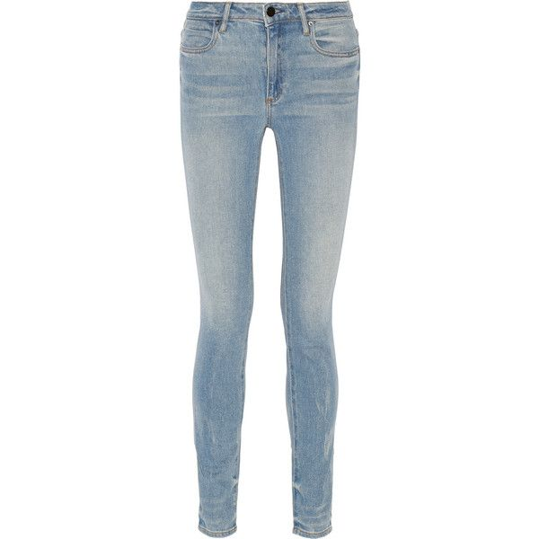 Alexander Wang Wang 001 high-rise skinny jeans ($265) ❤ liked on Polyvore featuring jeans, pants, bottoms, calça, light blue, high-waisted skinny jeans, vintage slip, high rise jeans, light blue jeans and light blue high waisted jeans