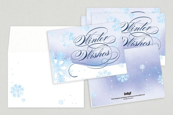 Winter Wishes Holiday Greeting Card Template - A beautiful snow - greeting card templates