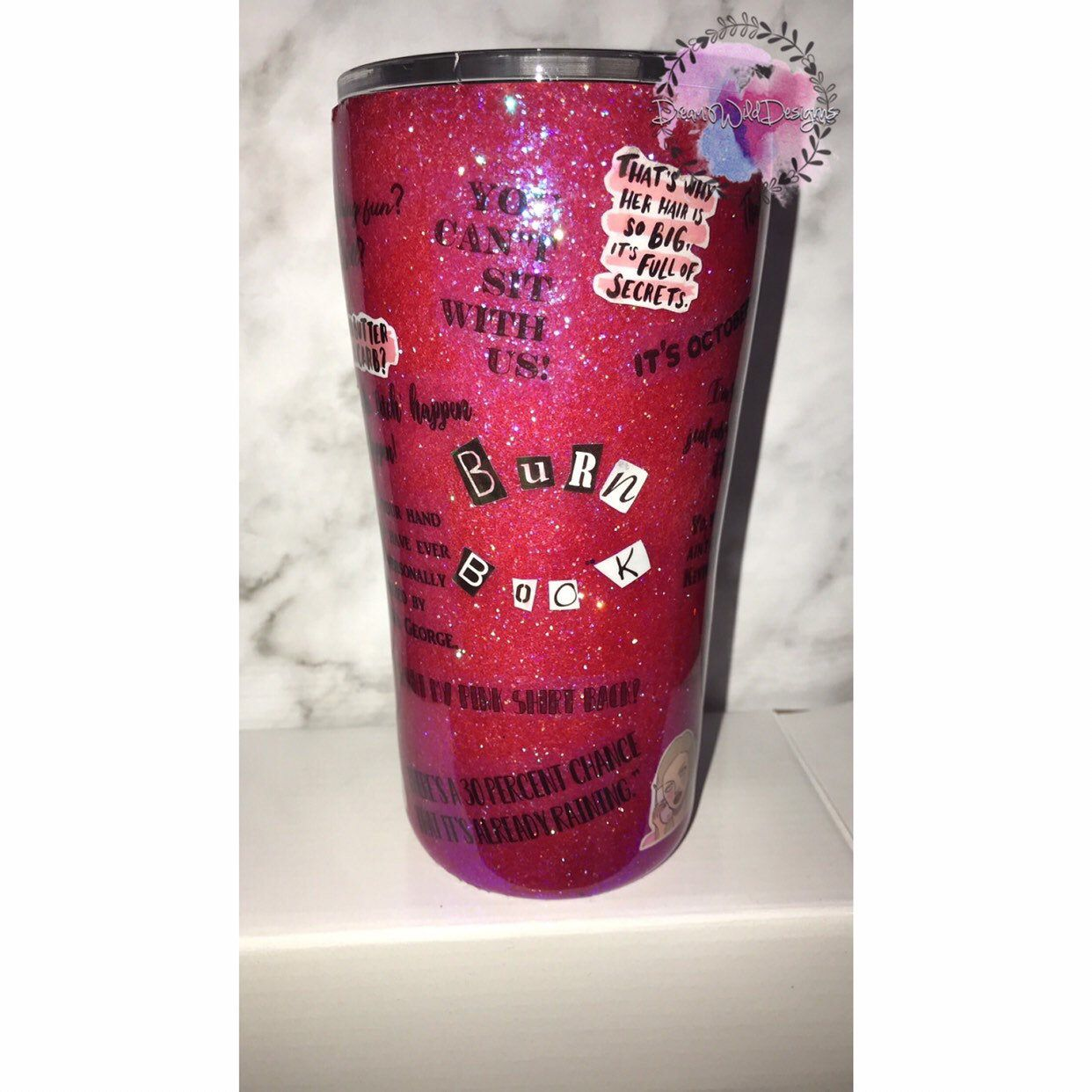 The Burn Book Mean Girls Glitter Stainless Steel Tumbler Cups Tumbler Cups Diy Tumbler Cups Personalized Tumbler Cups