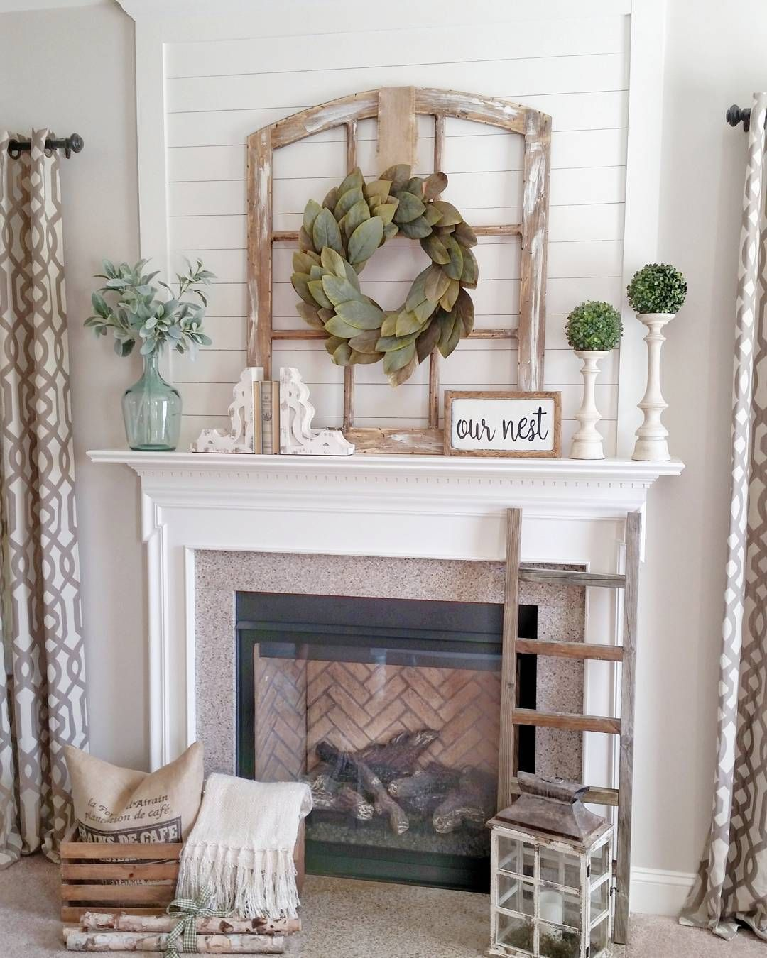 Simple Mantel Decor For Summer With Greenery #Summer #Home #Decoration