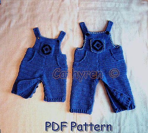 Crochet Baby Unisex OverallsRomper. The Denim Collection