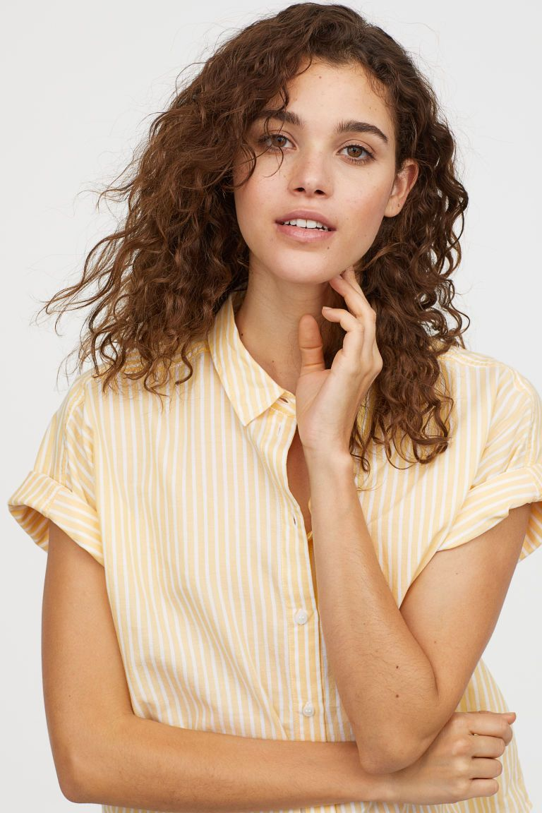 8d32ac85b357 H M Short-sleeved Cotton Shirt - Yellow