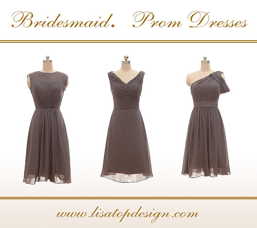 For these charcoal gray chiffon dresses, they are sexy and hot for any party occasion, for evening dance, wedding party or even for your prom! Thress styles for your choice,all of the colors shown on my website are available.