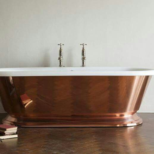 Beautiful copper soaking top with white porcelain. Want!