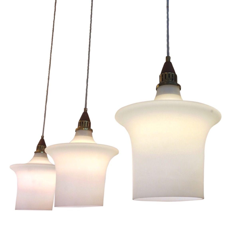 Danish s glass ceiling lights set of rare white glass celing