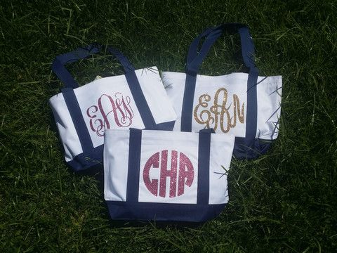 New!!! Monogram Glitter Tote - Navy Handles  Perfect everything bag!
